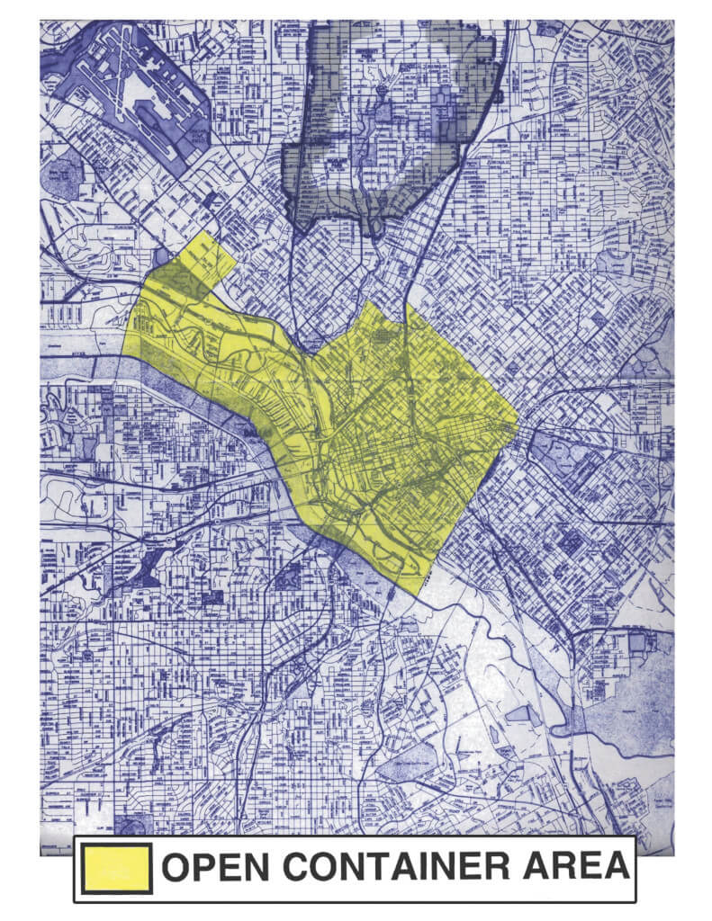 Area where public drinking is illegal in Dallas
