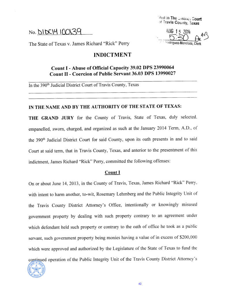 Rick Perry Felony Indictment