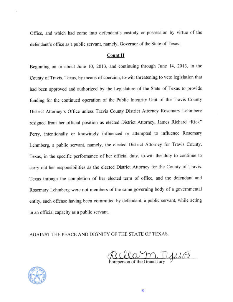 Rick Perry Felony Indictment page 2